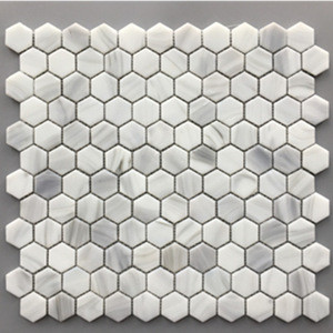 China Supply Low Price Hot Melting Glass Hexagon Marble White Mosaic Tile Art Mosaic For Inside Wall Decoration