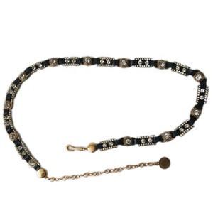 Diamond PU rope cord Leather Belt chain Metal decorative mini thin Waist chain