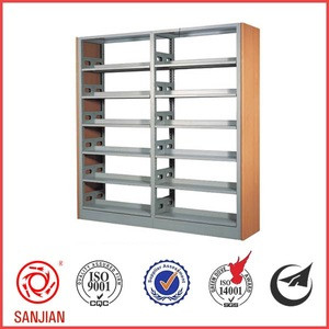 Double side metal book shelf used library furniture