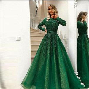 ELPR0000798 2020 green evening dress sequin sheer layer ball gown evening dress women