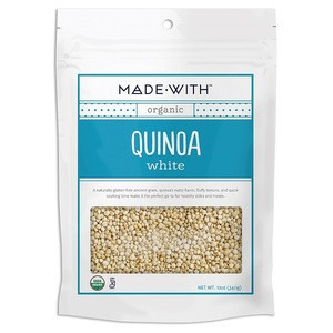 Gluten-Free Grain, Fluffy Texture Organic Dried White QUINOA ORG 12.000 OZ (340g) From MADE WITH Brand