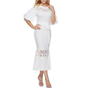 Hot Style OEM High Quality Wholesale Customized Women Dress Lantern Sleeve Fishtail Bottom Fitting Evening Dress With belt