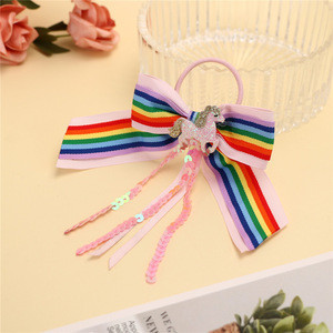 Latest Large Rainbow Hair Bows With Hair Ties for Cheerleader Girls Hair Tie