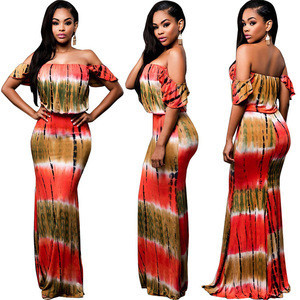 MC619 2017 african styles printed strapless flouncing maxi dress for women clothing