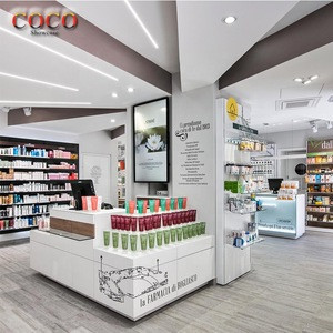 Modern Style Pharmacy Shop Showcase Drug Store Display Shelves Cashier Counter Design