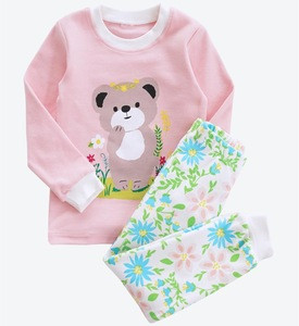 Pink Lovely Animals Printed 2018 Spring Newest Style Kids Cotton Pajamas