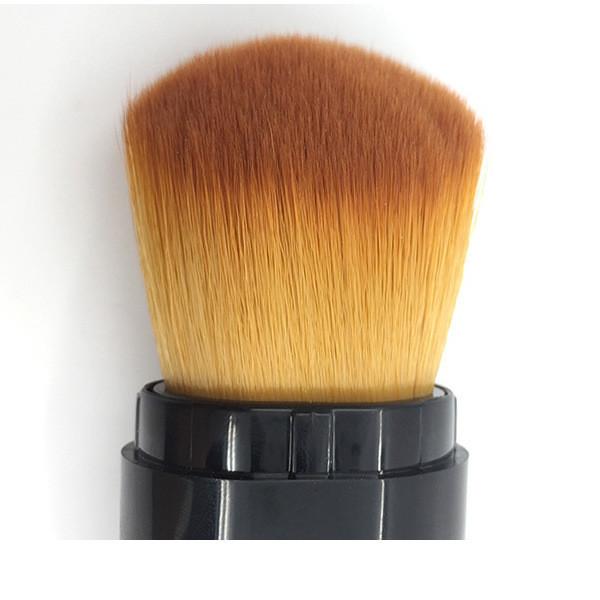 Telescopic Aluminum Ferrule Cosmetic Makeup Brush with Vegan Hair