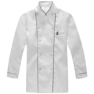 Wholesale Custom 100% Polyester Long Sleeve Professional Chefs Uniform Full Sleeve Unisex Hotel Restaurant Kitchen Work Uniform