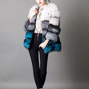 2017/2018 Wholesale New Style Multi Color Real Fox Fur Strip Coat with Factory Cheap Price