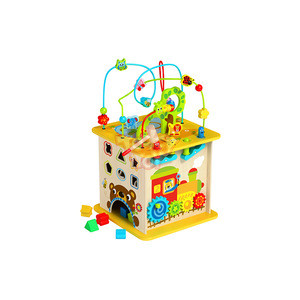 2020 New Classical Wooden Play House Cube Centre with Forest Roller Coaster Beads Toy for Baby Kids 3+