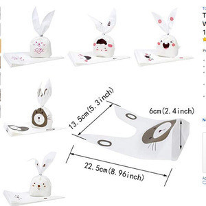 50 PCS Baby Shower Souvenir Cute Rabbit OPP Cookie Bakery Candy Biscuit Treat Gift DIY Plastic Bag