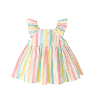 Baby Little Girl Skirt New 2019 Summer Dress Stripe/Solid Color Infant Short-sleeve lovely 100% Cotton Skirt