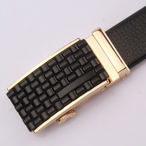 Black Leather tight denim belt custom badge 3.5cm long 180-200cm ratchet automatic sliding buckle belt strap buckle