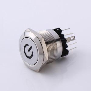 Illuminated push button switch 22 mm, metal anti vandal switch button, momentary micro anti-vandal switch