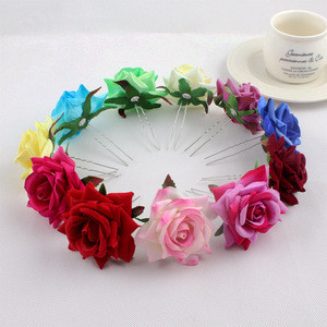 New design bridal jewelry U-shaped hair fork velvet simulation rose flower hairpin holiday hair accessories head flower