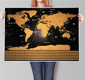 Paper Wall Sticker Scratch Travel World map