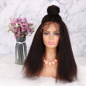Swiss Lace Wig Vendors Wholesale SOFT 13*6 Full Virgin Brazilian Afro Kinky Straight Front Lace Human Hair Wigs For Black Women