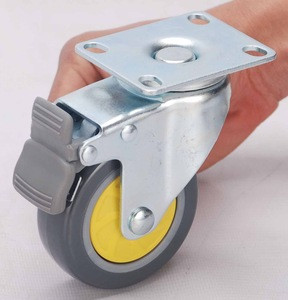 Swivel plate clear caster, transparent pu castor wheel with brake