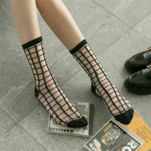 Transparent Crystal Stockings Black and White Glass Stockings Lace Card Socks for ladies