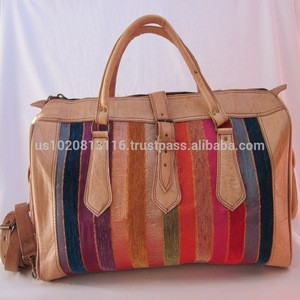 Well Handcrafted Genuine Leather Kilim Travel Bag