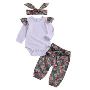 Wholesale children girl Clothes Set Pure cotton fly sleeved white top + flower pants 3pcs kids clothing suit