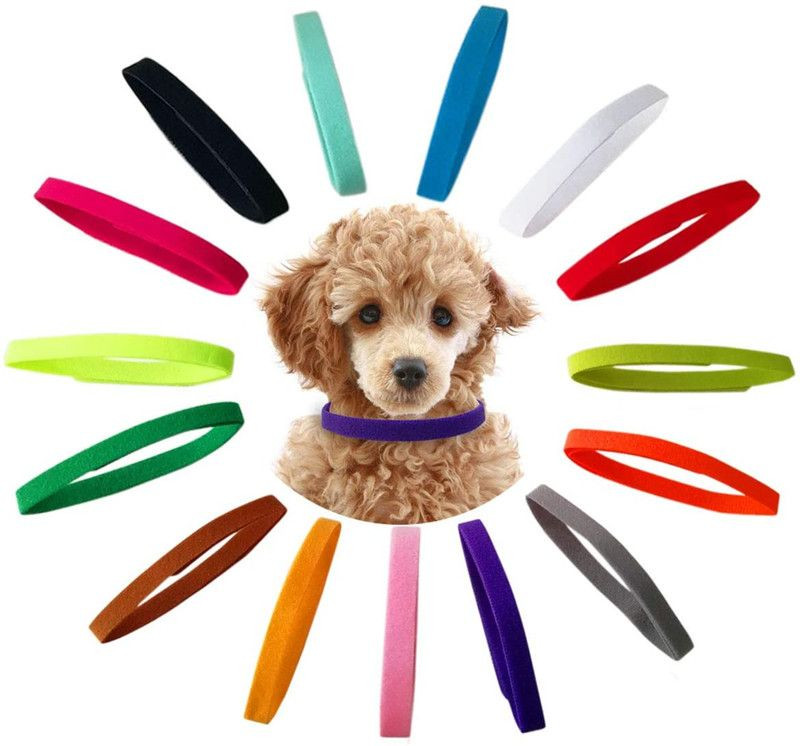 15 Pcs Puppy Id Collars 15 Colors Puppy Whelping Collars Double-Sided Soft Adjustable Dog ID Bands Identification