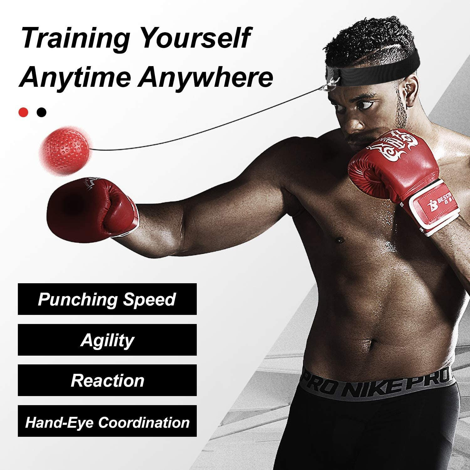 Boxing reflective ball set training ball on the rope hand-eye coordination training