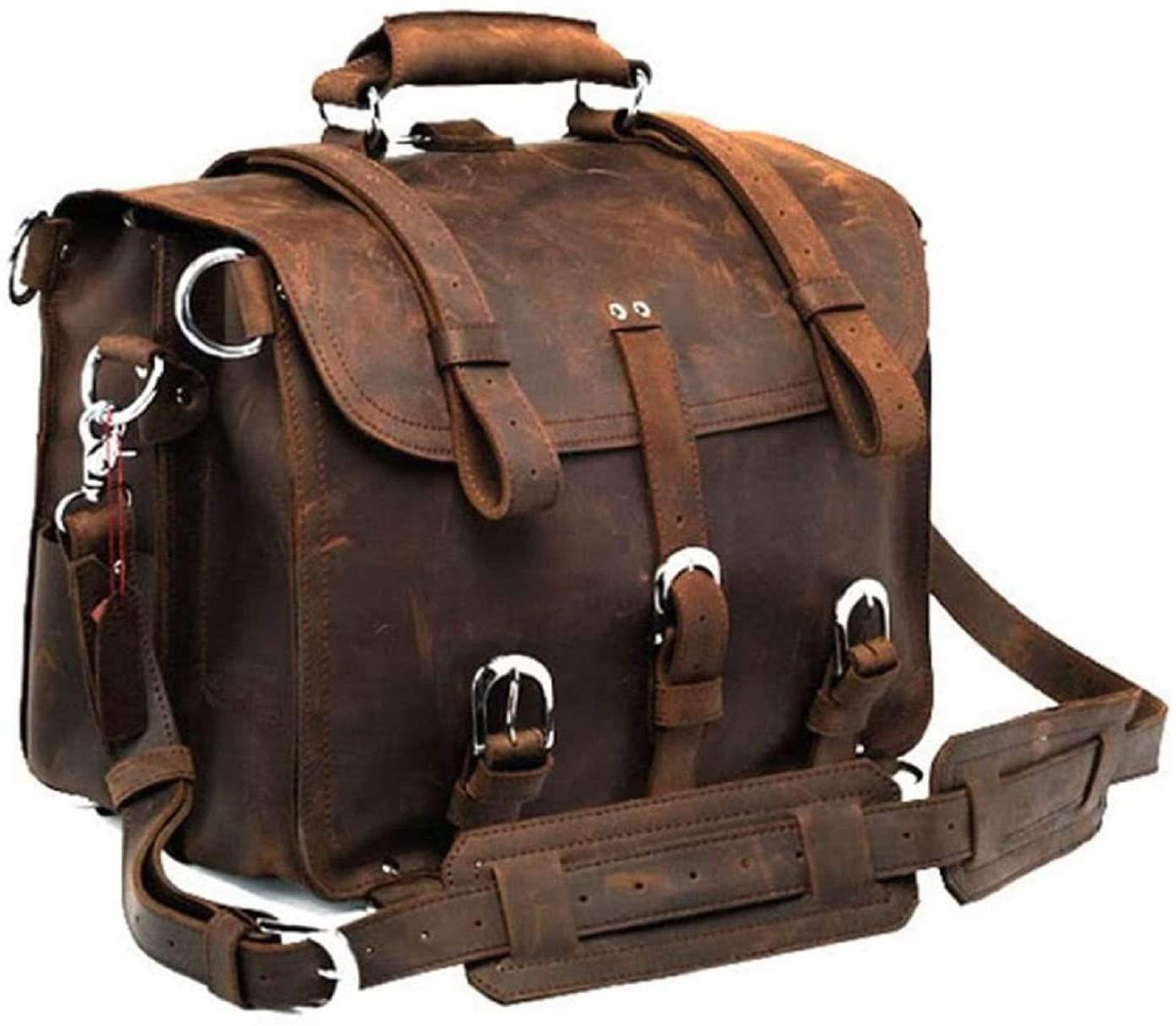 Full Grain Handmade Leather Laptop office Briefcase Shoulder Messenger Bag Dark brown (16 Inches)
