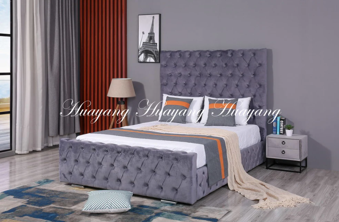 Upholstered Velvet Queen Size Bed Detachable Bed Furniture