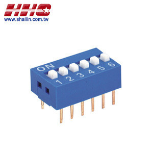 2.54mm 6 positions (SPST) gold-pin DIP switch