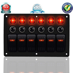 6 Gang Red LED Rocker Switch Panel ABS Waterproof Circuit Breakers Charger 12V 24V Car Boat Marine 3PIN Combination Panel Switch