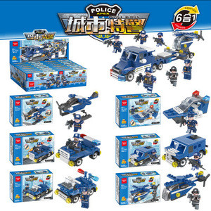 City police 6 in 1 environmental small particle assembly building blocks creative deformation toys compatible legoe gifts