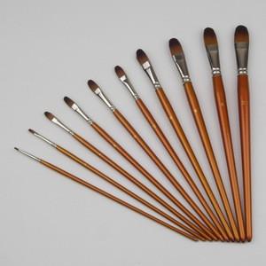 Handmade filbert nylon hair watercolor painting ,good quality artist paint brush set,12 Piece wood handle