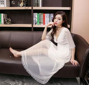 Ladys sexy nightdress ladies cotton plain long nightgown