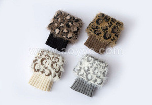 New style women winter fluffy faux fur knitted boots sleeve boot cuffs leopard print short flanging sock leg warmers