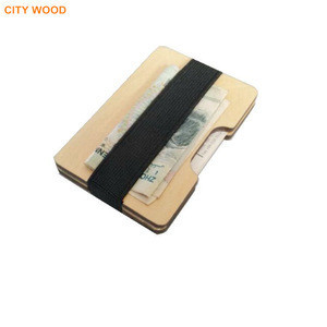 Promotion gift wood wallet with credit card holder clip