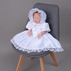 Sweet Style Baby Girls Satin Baptism Dress Lace Decor Formal Baby Christening Dress