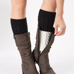 Women Leg Warmers Women Winter Warm Patchwork Thermal Acrylic Knitted Boot Cuffs Socks Cover Shoe Boot Socks Solid Color
