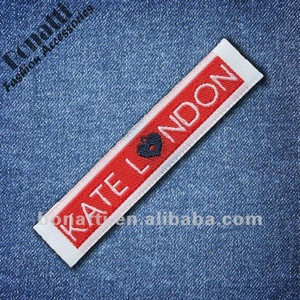 Woven label patch trademark