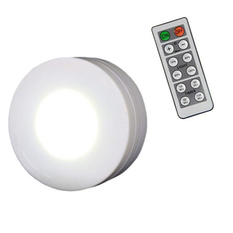 Battery powered dimmable led puck light with remote for cabinet, closet,living room
