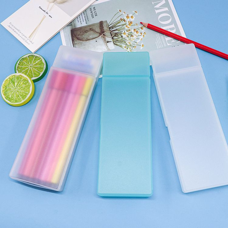 WEISHENG Factory 210mm Double Long Pencil Rectangle Crayons Color Pens Highlighter Stationery Case