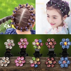 12pcs/pack Crystal Rhinestone Flower Hair Claw Clips For Girls Accessories