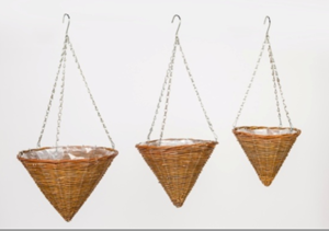 3pcs of one set natural hanging flower pot wicker planting baskets with plastic lining Cone baskets