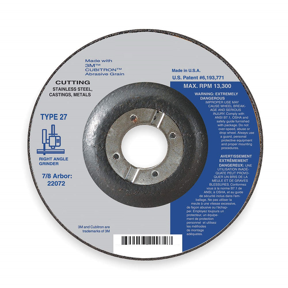 Abrsv Cut-Off Wheel, T27,4-1/2in, 7/8in
