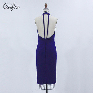 Caijia Sexy Halter Hip Package Open Back Prom Dress