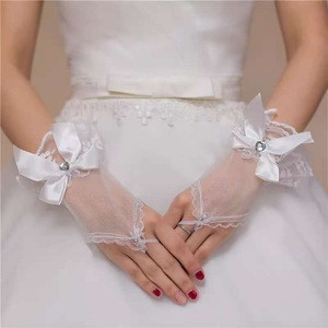 Elegant lace white pearl embroidery bridal wedding gloves
