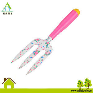 Garden hand tool set fork with floral printing