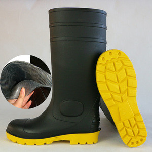 High quality mining industry oil resistant PVC safety boots with steel toe cap and plate