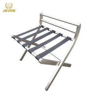 Metal chrome hotel bedroom furniture with wooden folding luggage rack suitcase stand organiser