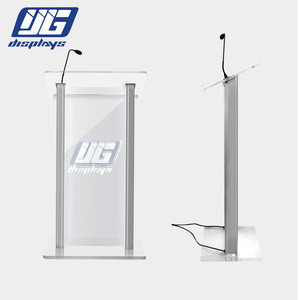 Modern church acrylic pulpit Plexiglass podium Conference School Church Lectern with LED Light